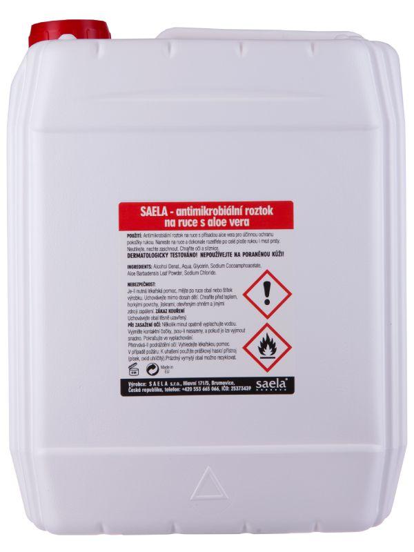 SAELA - antimikrobiální čistící roztok na ruce s aloe vera - 5l kanystr - náhradní obal SAELA s.r.o.